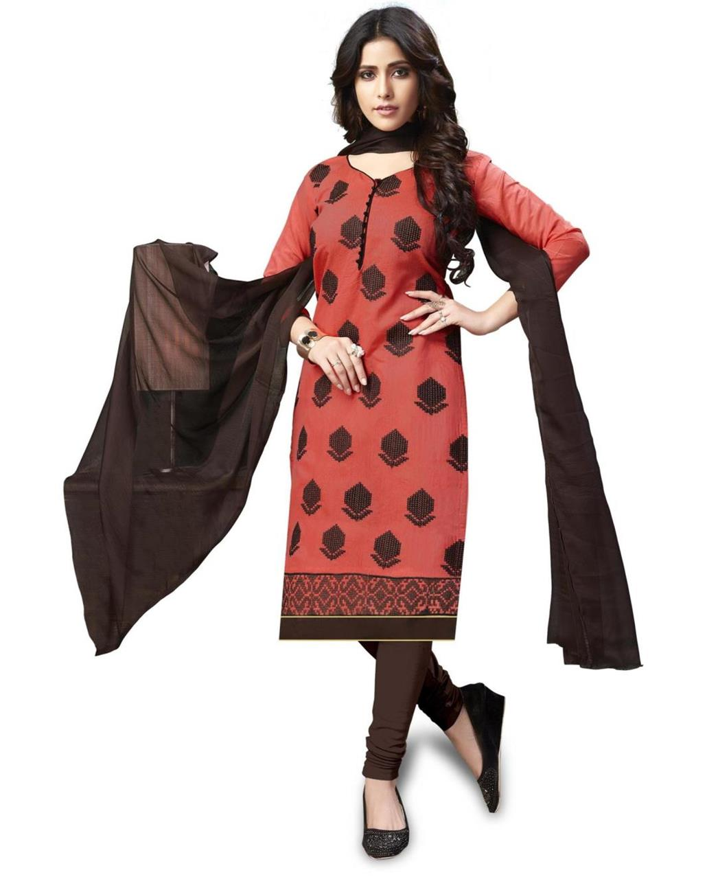Embroidered Chanderi PeachPuff Straight Cut Salwar
