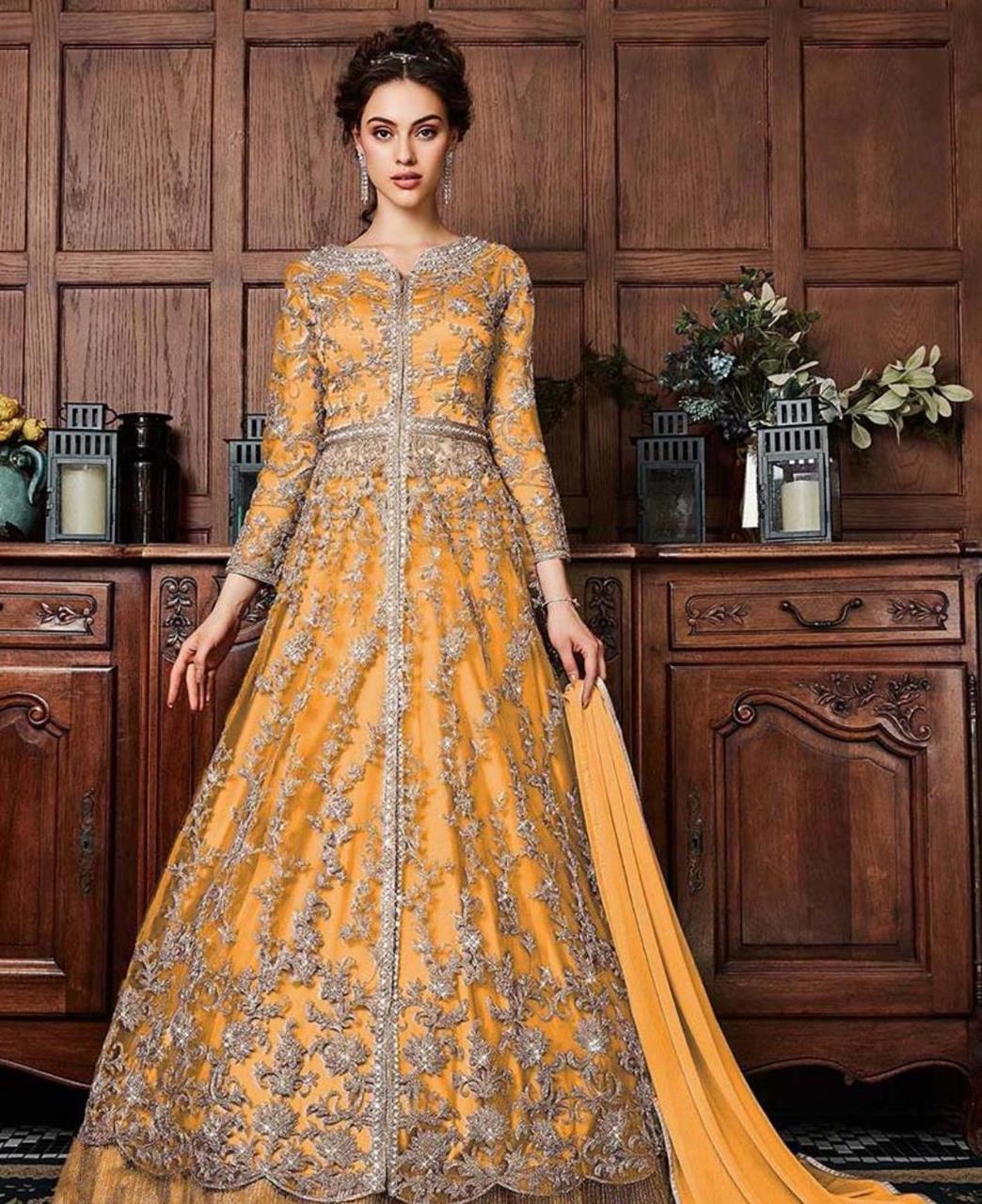 Net Abaya Style Salwar in Goldenyellow