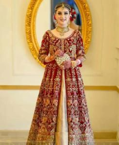 Embroidered Net Abaya Style Salwar in Red