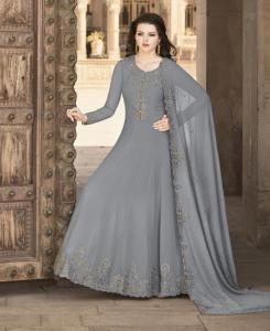 Embroidered Georgette Abaya Style Salwar in Grey