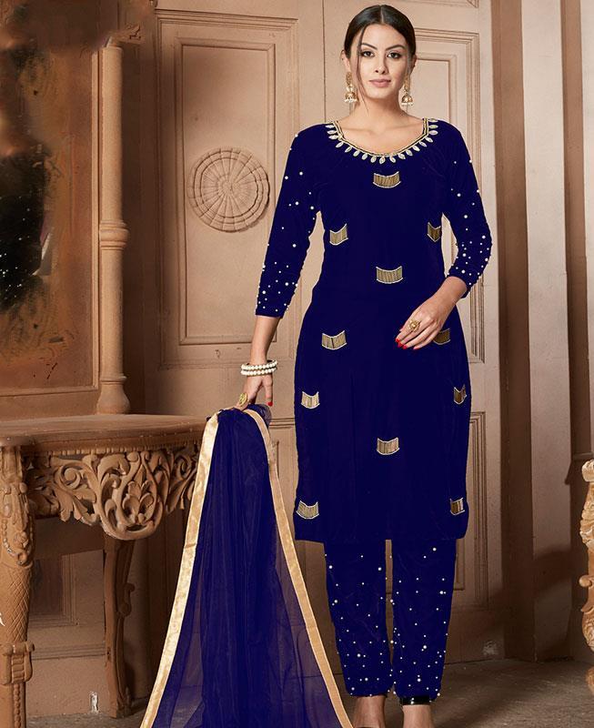 Moti Velvet Blue Straight Cut Salwar