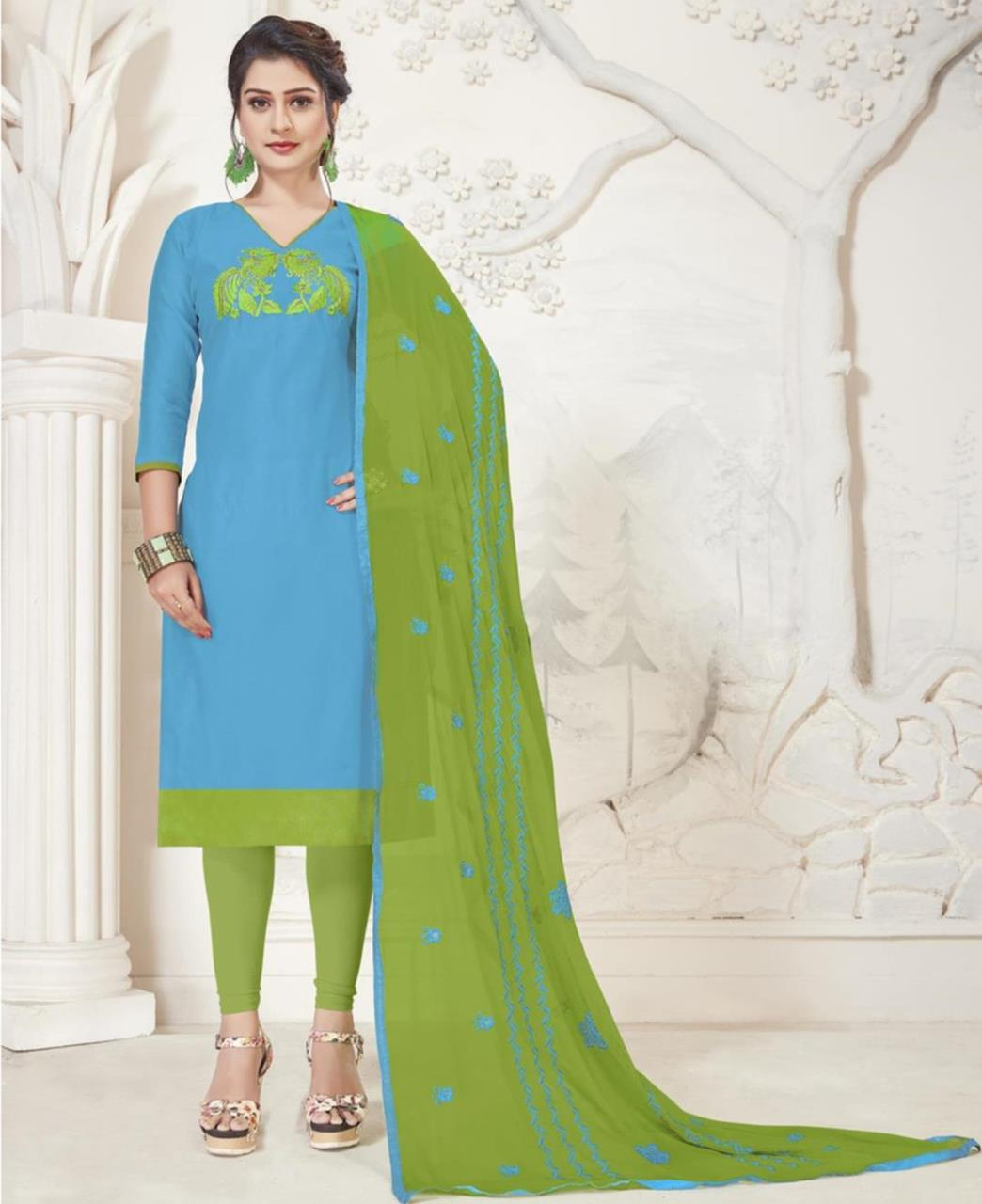Embroidered Silk SKYBLUE Straight Cut Salwar