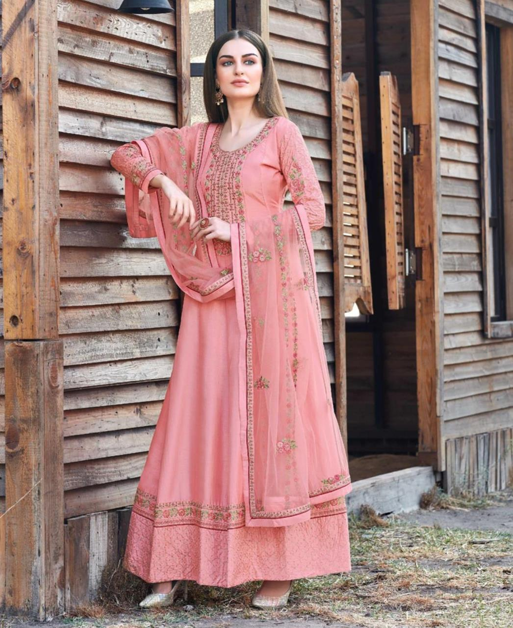 Embroidered Silk Abaya Style Salwar in Light Pink