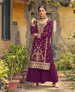 Stone Work Georgette Abaya Style Salwar in Violet