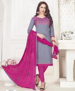Embroidered Cotton Straight cut Salwar Kameez in Grey