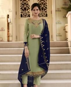Thread Georgette Abaya Style Salwar in Fennel Green