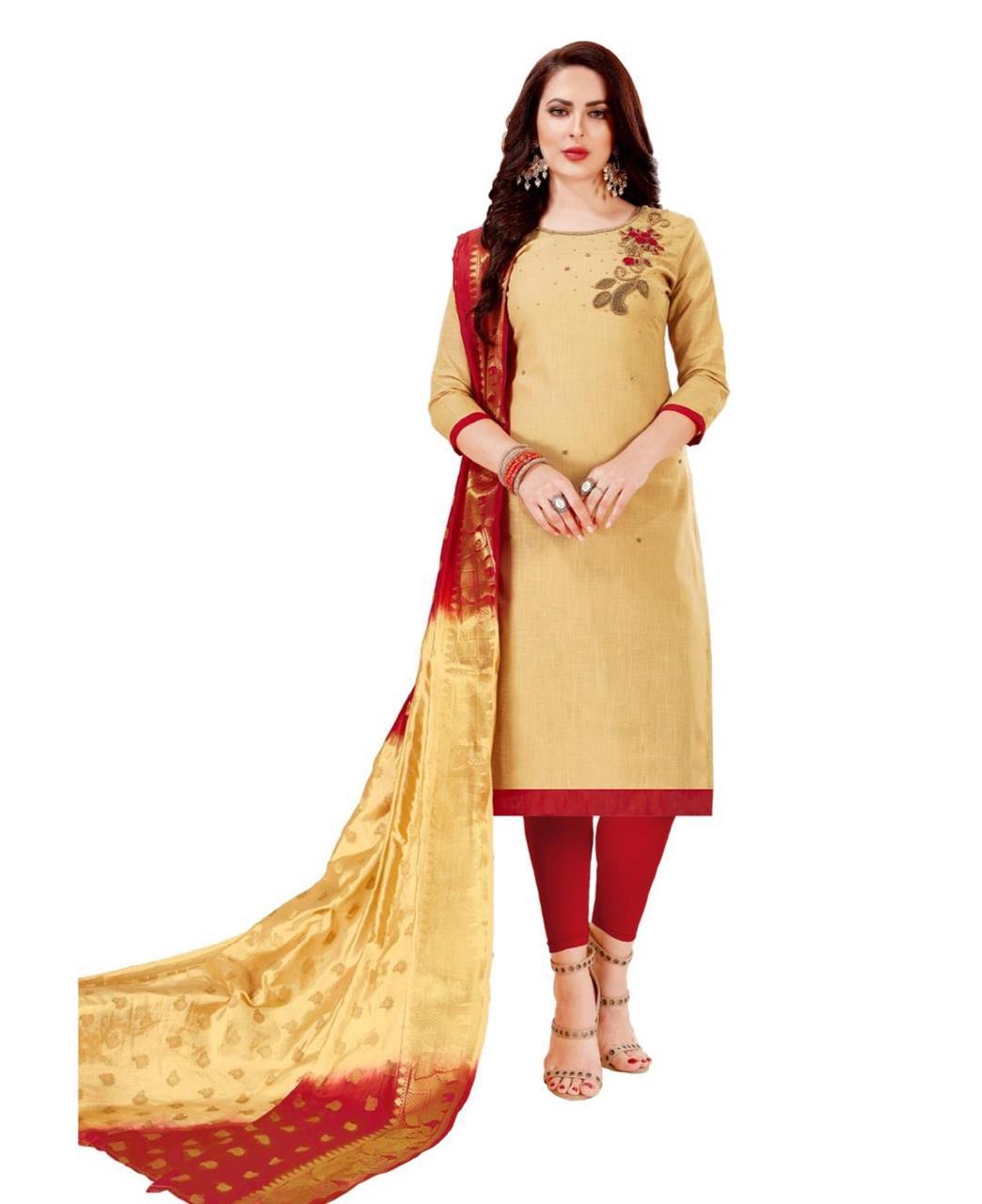 HandWorked Cotton Beige Straight Cut Salwar