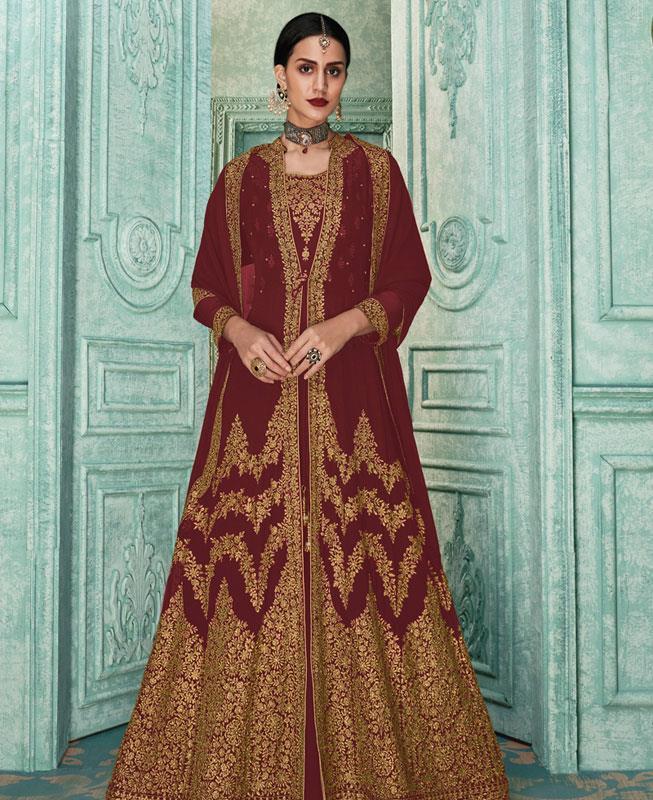 Zari Georgette Maroon Abaya Style Salwar
