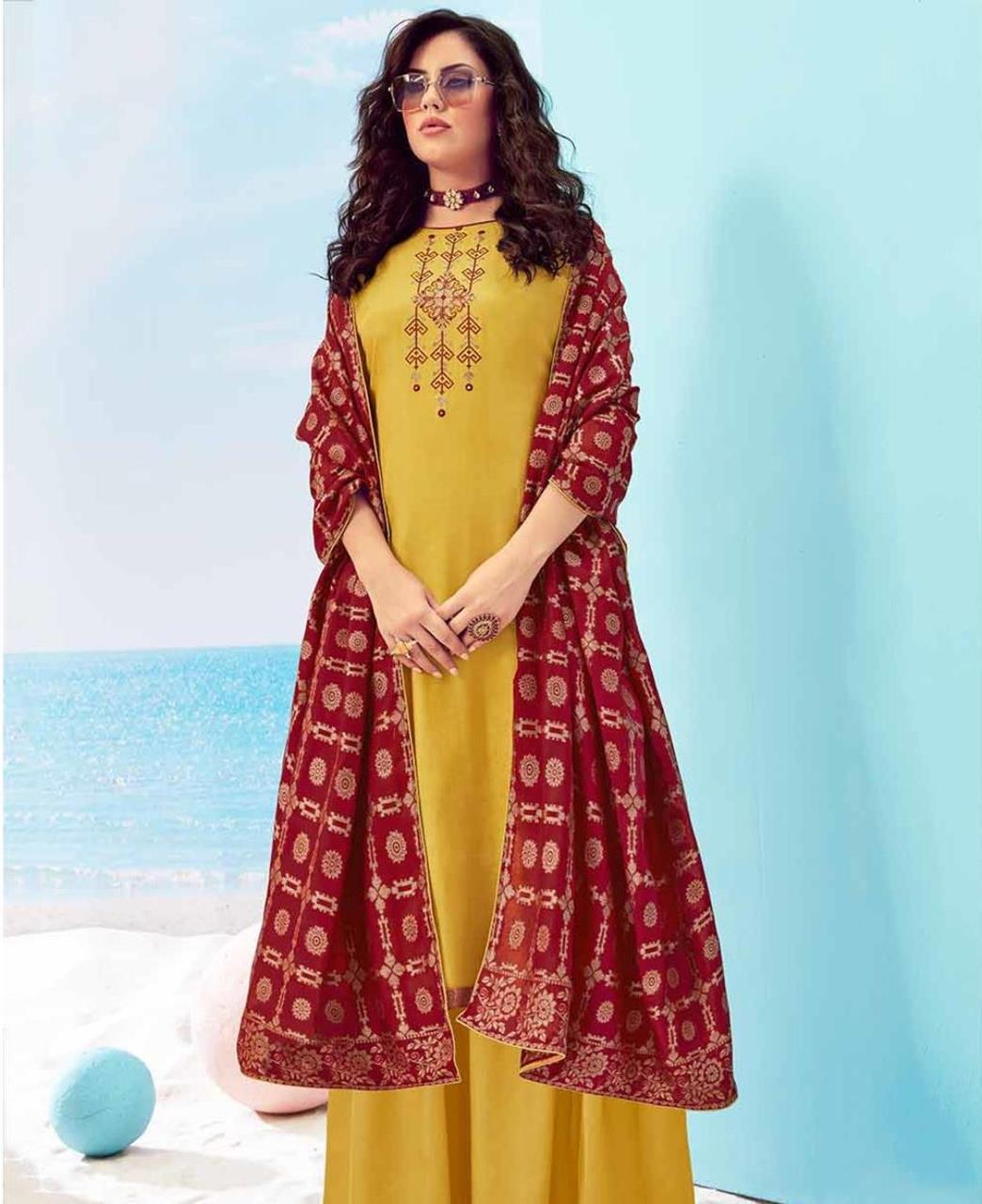 Cotton Straight cut Salwar Kameez in Yellow