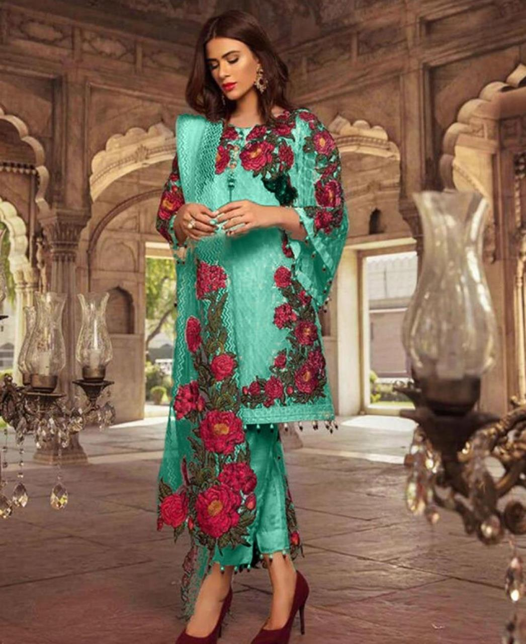 Embroidered Georgette Straight cut Salwar Kameez in Light Green