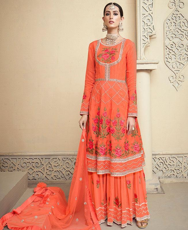 Embroidered Georgette Orange Palazzo Suit Salwar