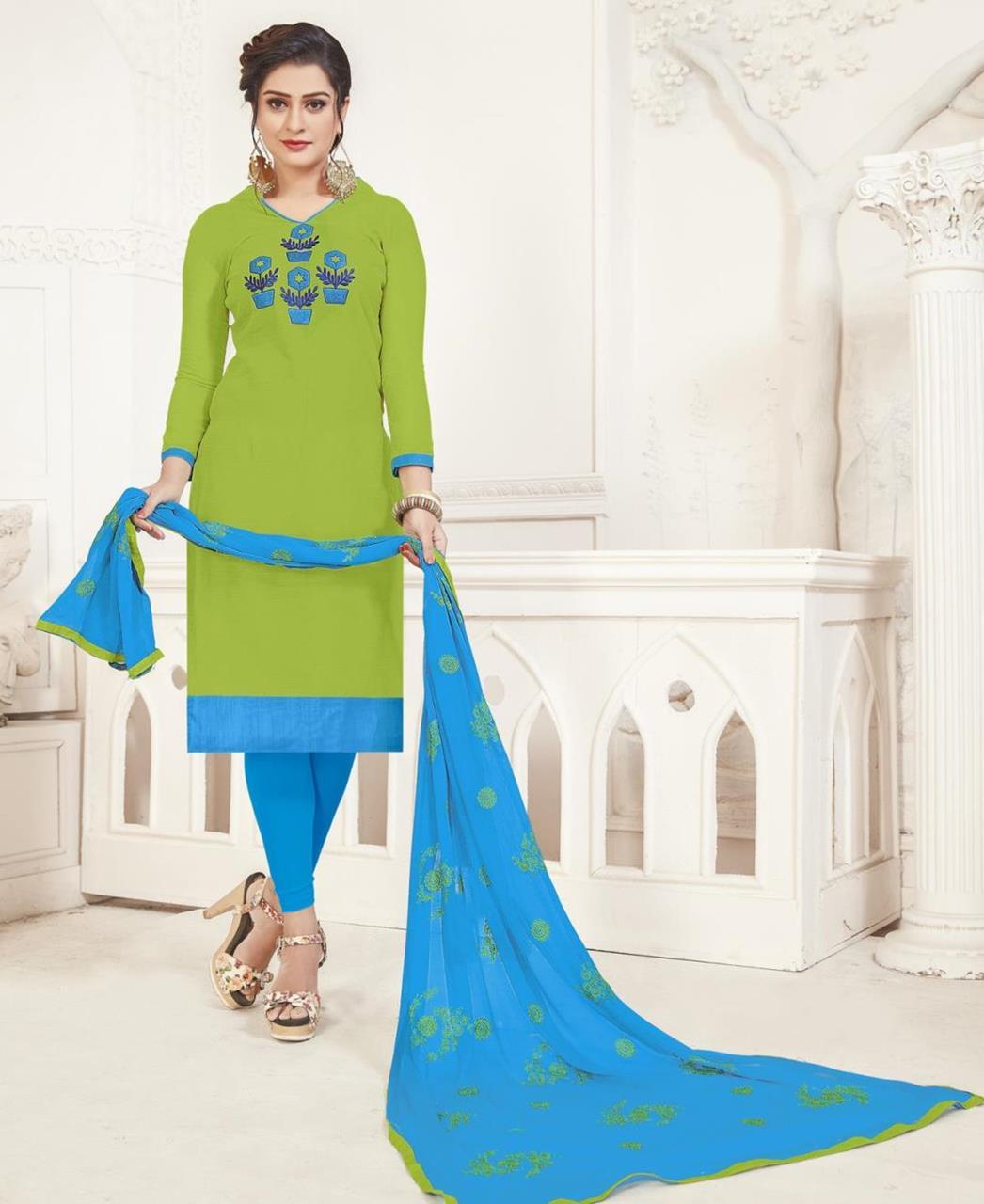 Embroidered Silk LimeGreen Straight Cut Salwar