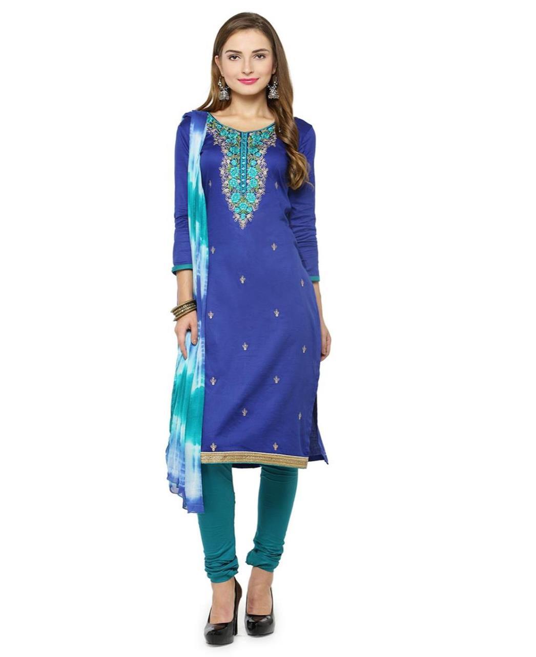 Embroidered Satin Blue Straight Cut Salwar