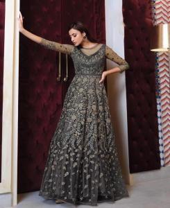 Net Abaya Style Salwar in Grey
