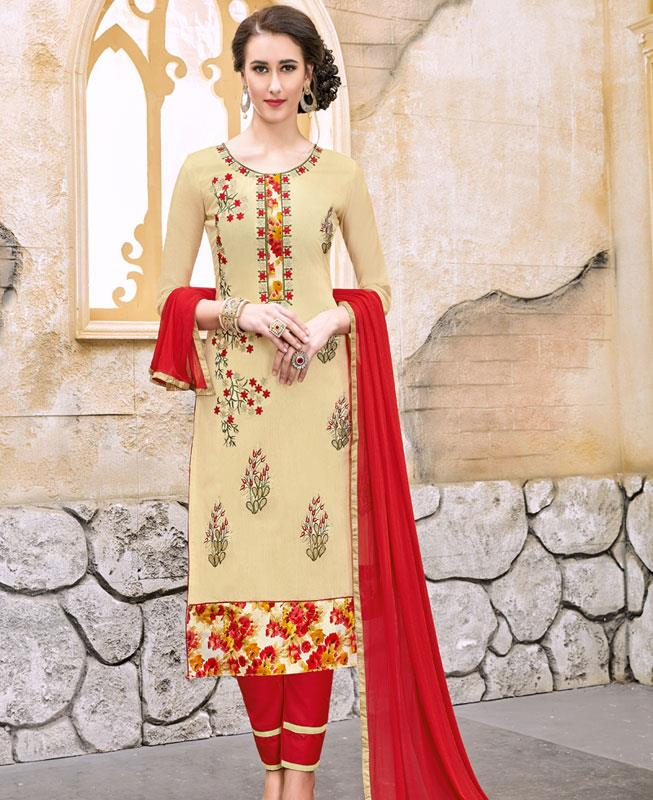 Border Work Chanderi Cotton Cream Straight Cut Salwar Kameez