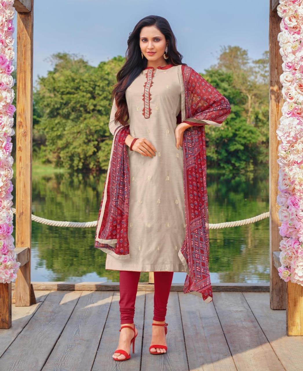 Cotton Straight cut Salwar Kameez in Beige