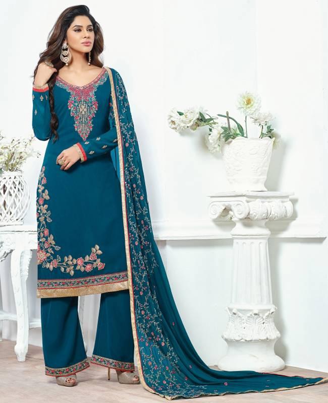 Embroidered Faux Georgette Blue Salwar Kameez Churidar