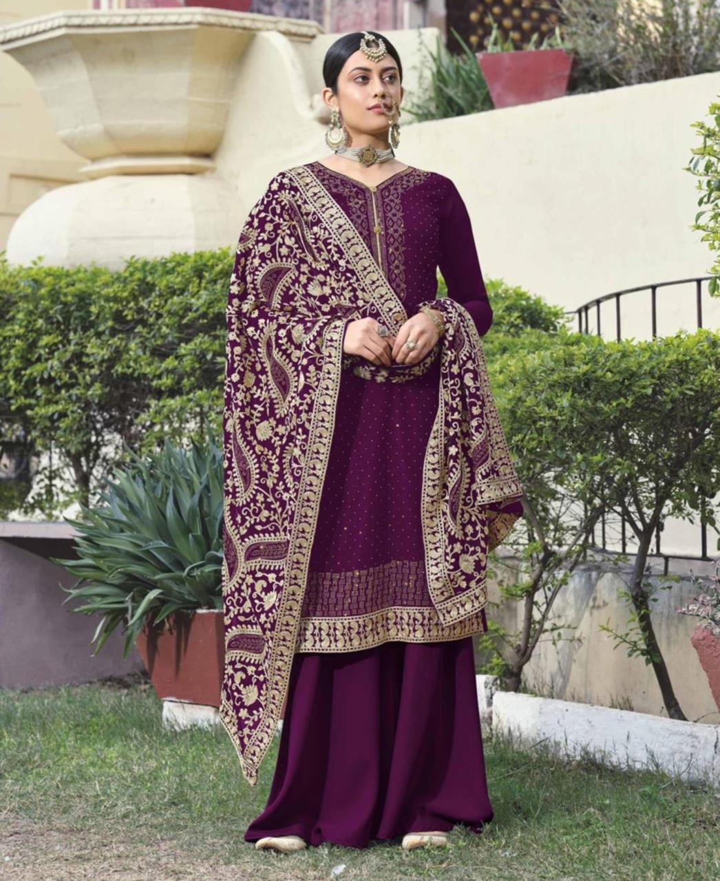 Georgette Straight cut Salwar Kameez in Violet