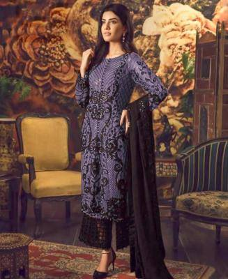 Embroidered Faux Georgette Violet Palazzo Suit Salwar
