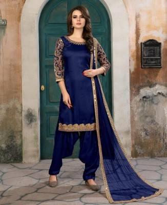 Embroidered Art Silk Blue Patiyala Salwar