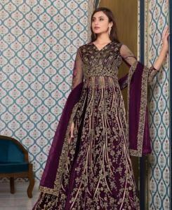 Sequins Net Abaya Style Salwar in Purple