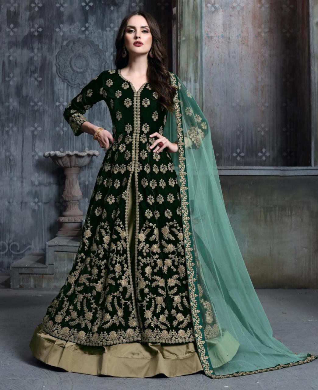Embroidered Velvet Green Abaya Style Salwar Kameez