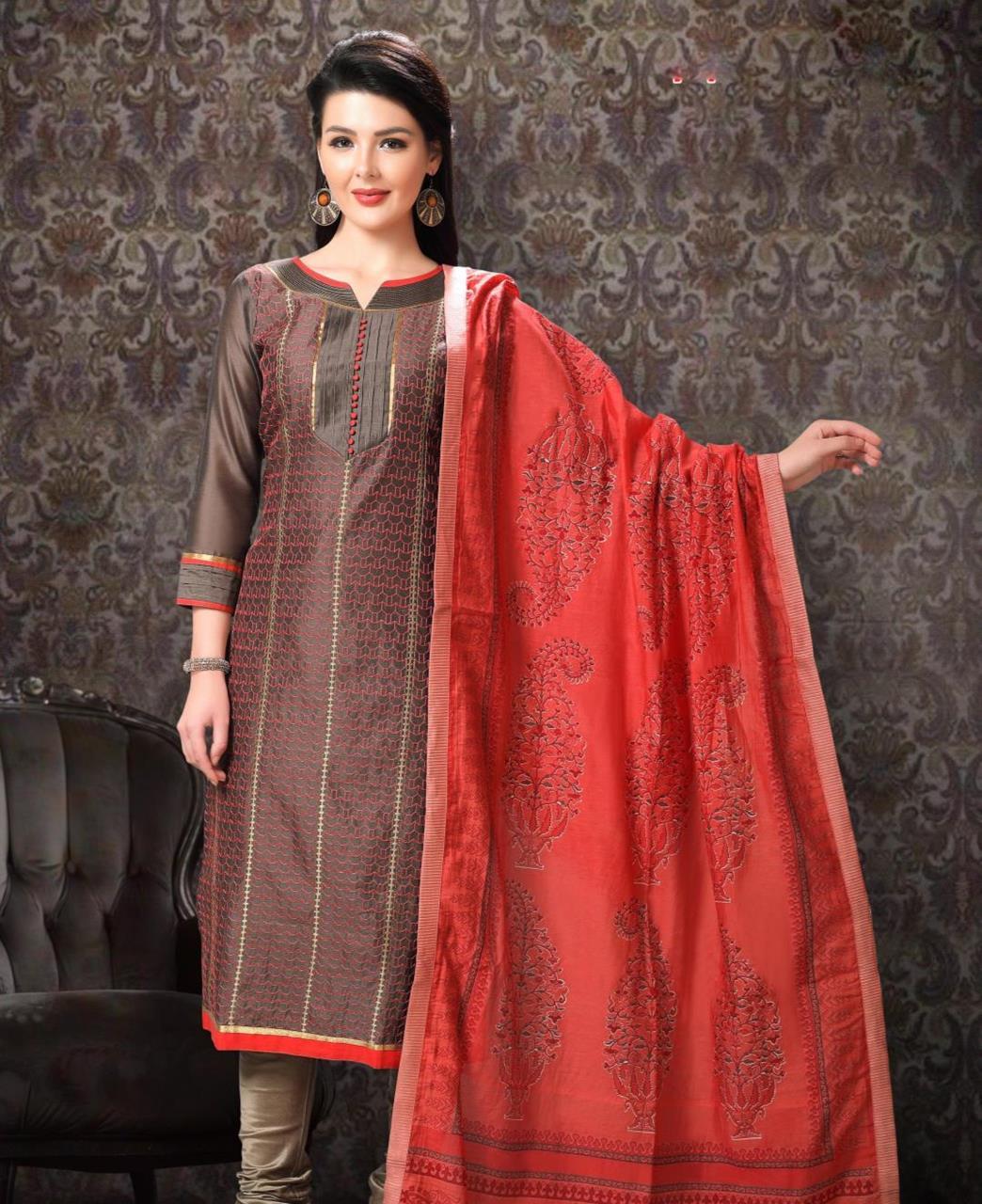 Embroidered Chanderi Silk Brown Straight Cut Salwar