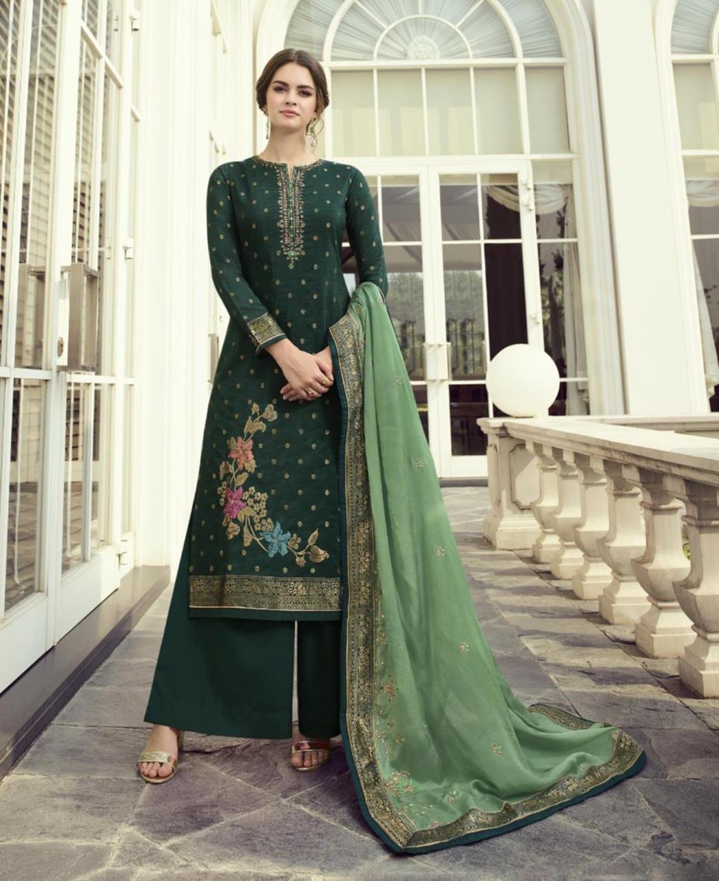 HandWorked Jacquard Straight cut Salwar Kameez in Bottel Green