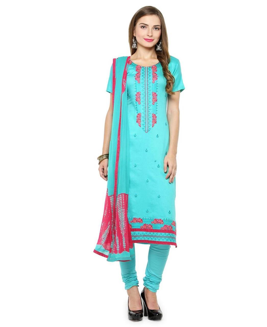 Embroidered Satin Aqua Straight Cut Salwar