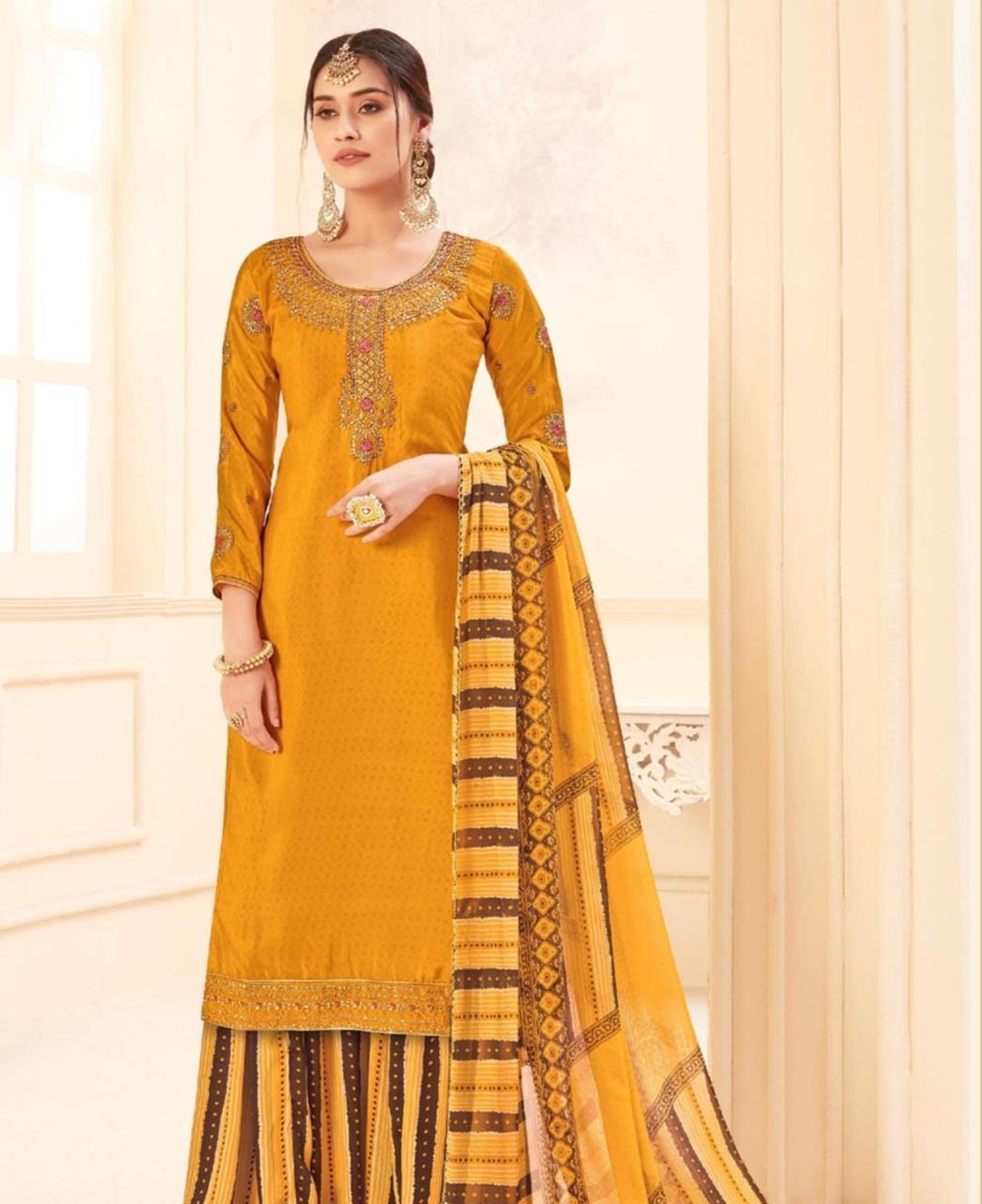 Printed Georgette Straight cut Salwar Kameez in Yellow