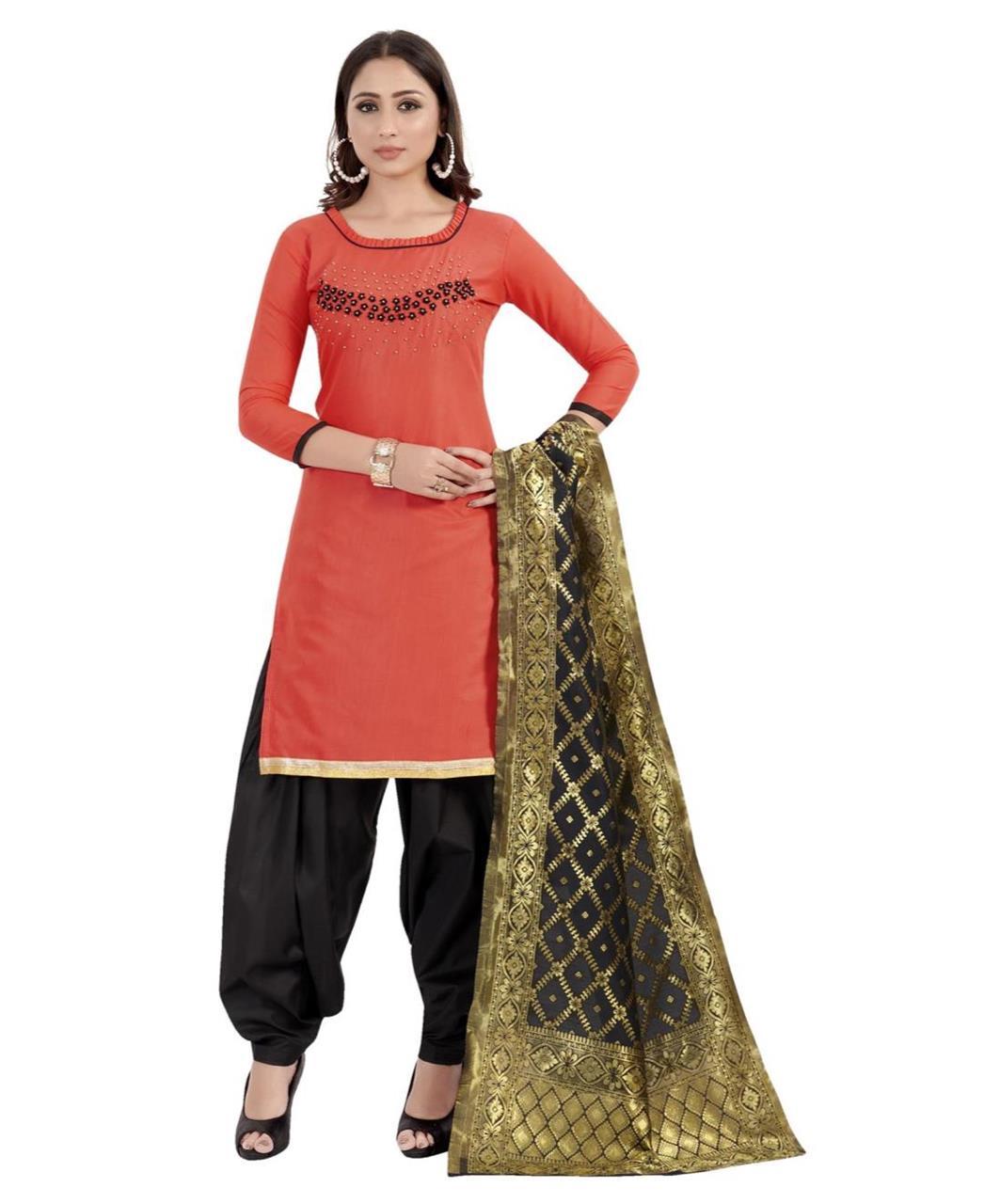 HandWorked Cotton Patiyala Suit Salwar in Peach