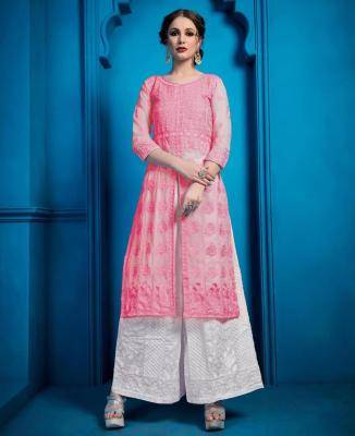 Embroidered Georgette Pink Palazzo Suit Salwar