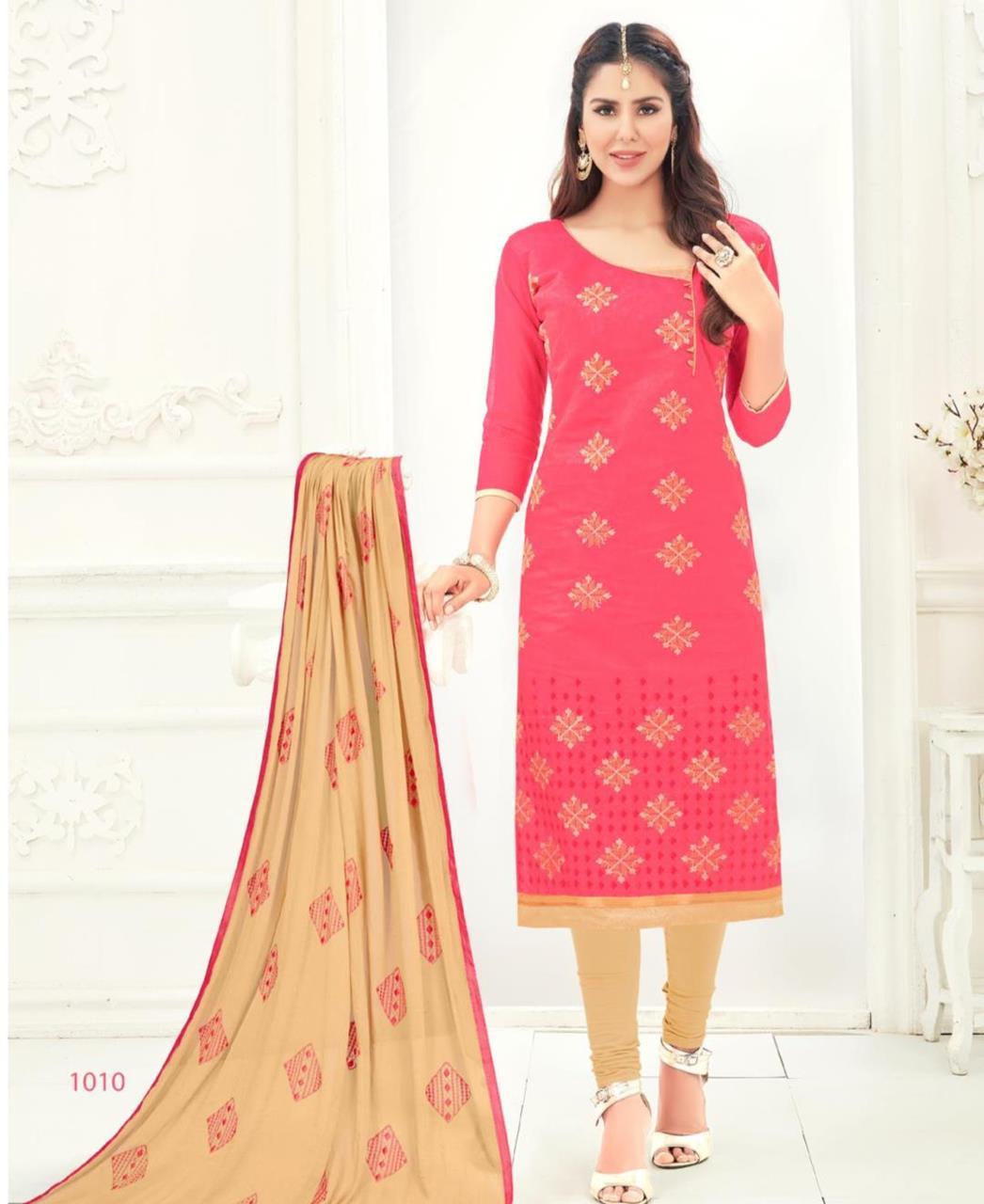 Embroidered Chanderi Pink Straight Cut Salwar Kameez