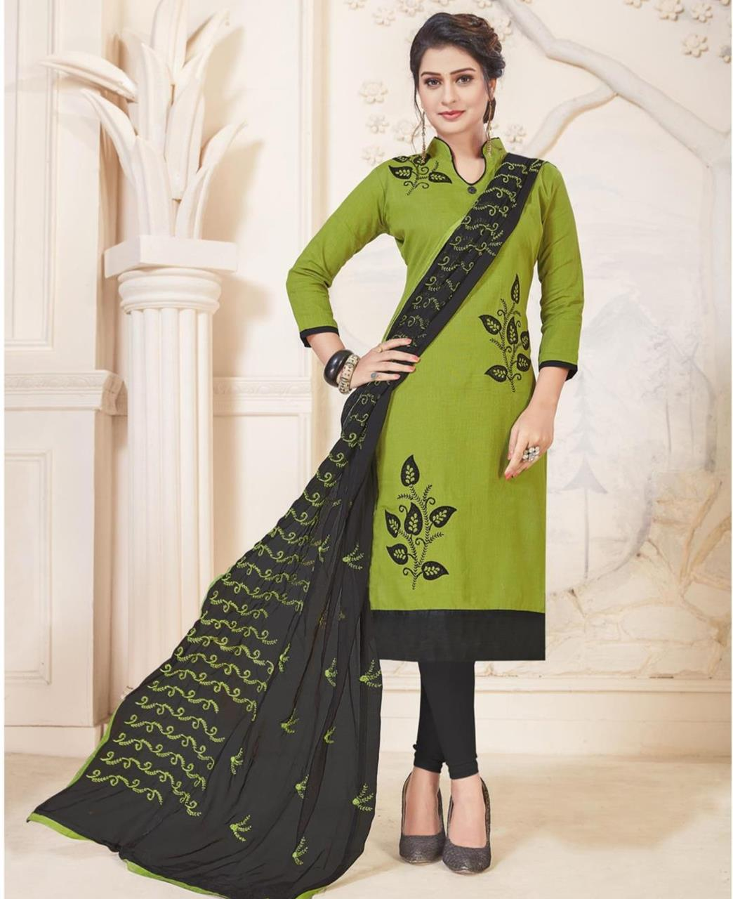 Embroidered Cotton OLIVE Straight Cut Salwar