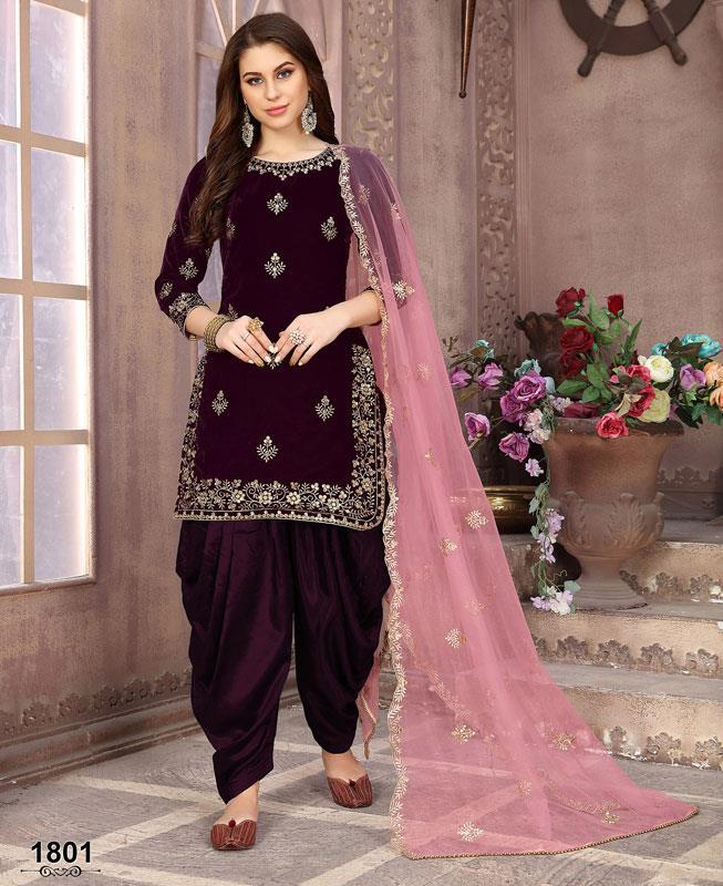 Embroidered Velvet Purple Patiyala Suit Salwar