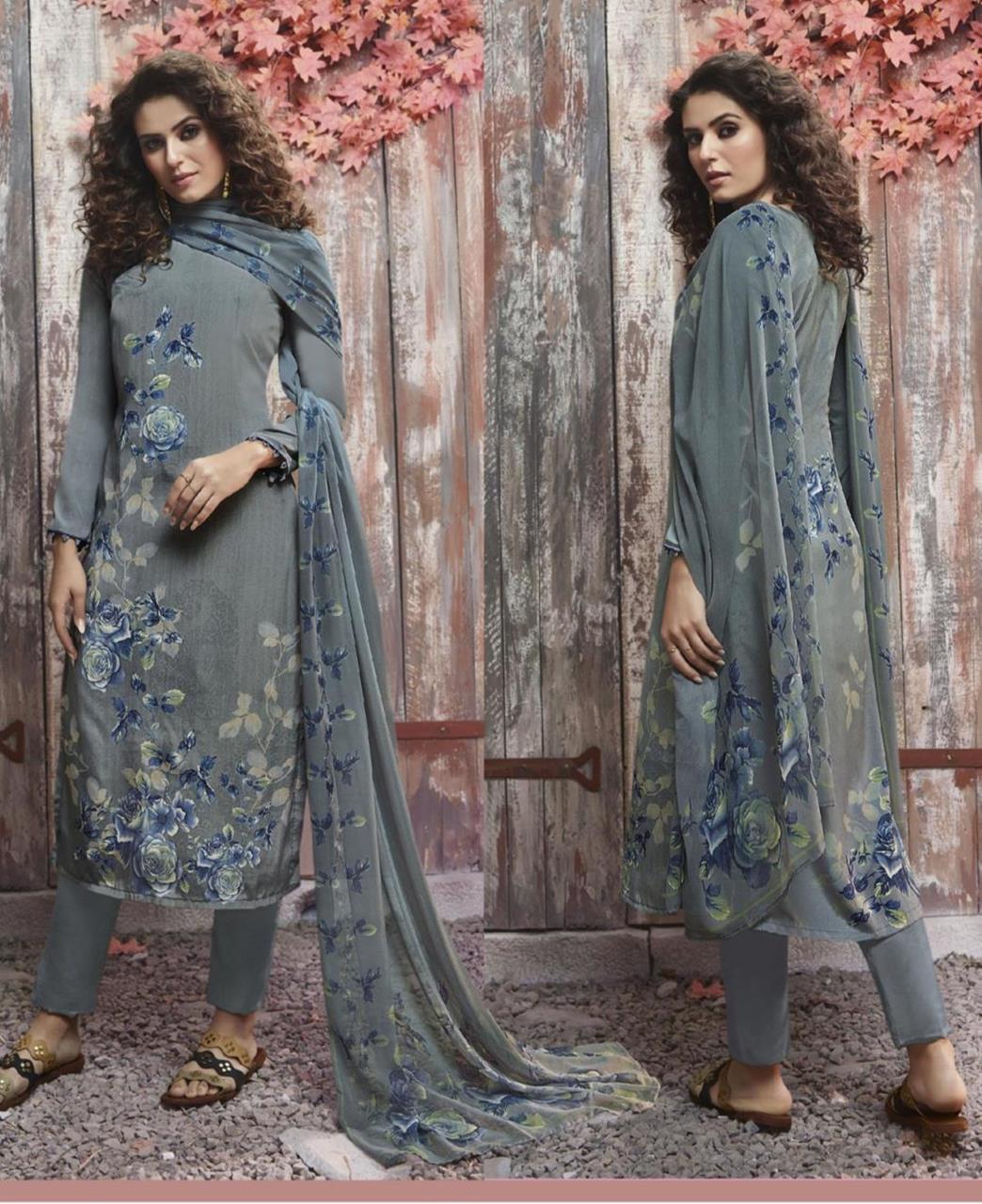 Floral Print Crepe Silk Gray Straight Cut Salwar