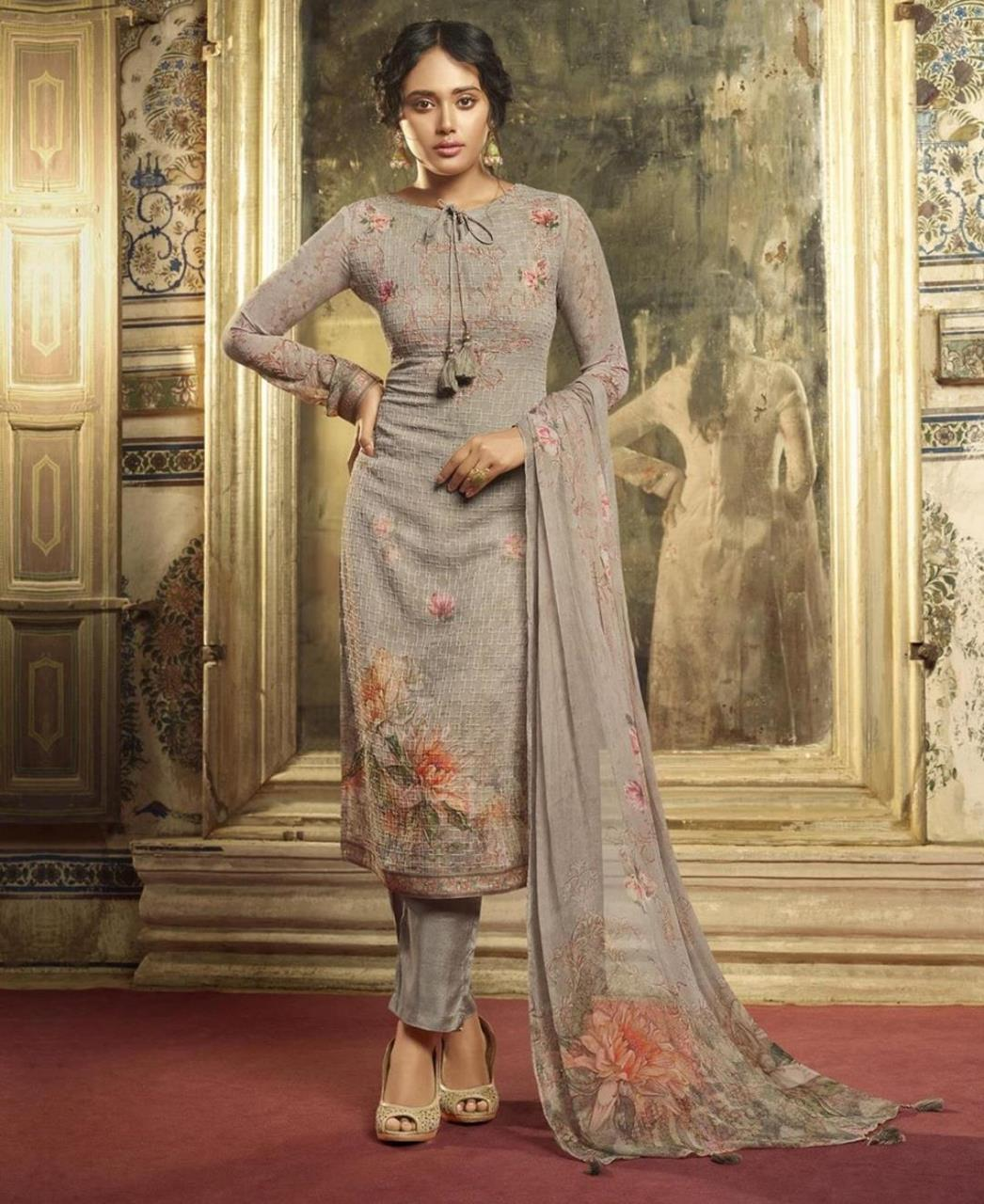 Stone Work Georgette Straight cut Salwar Kameez in Grey