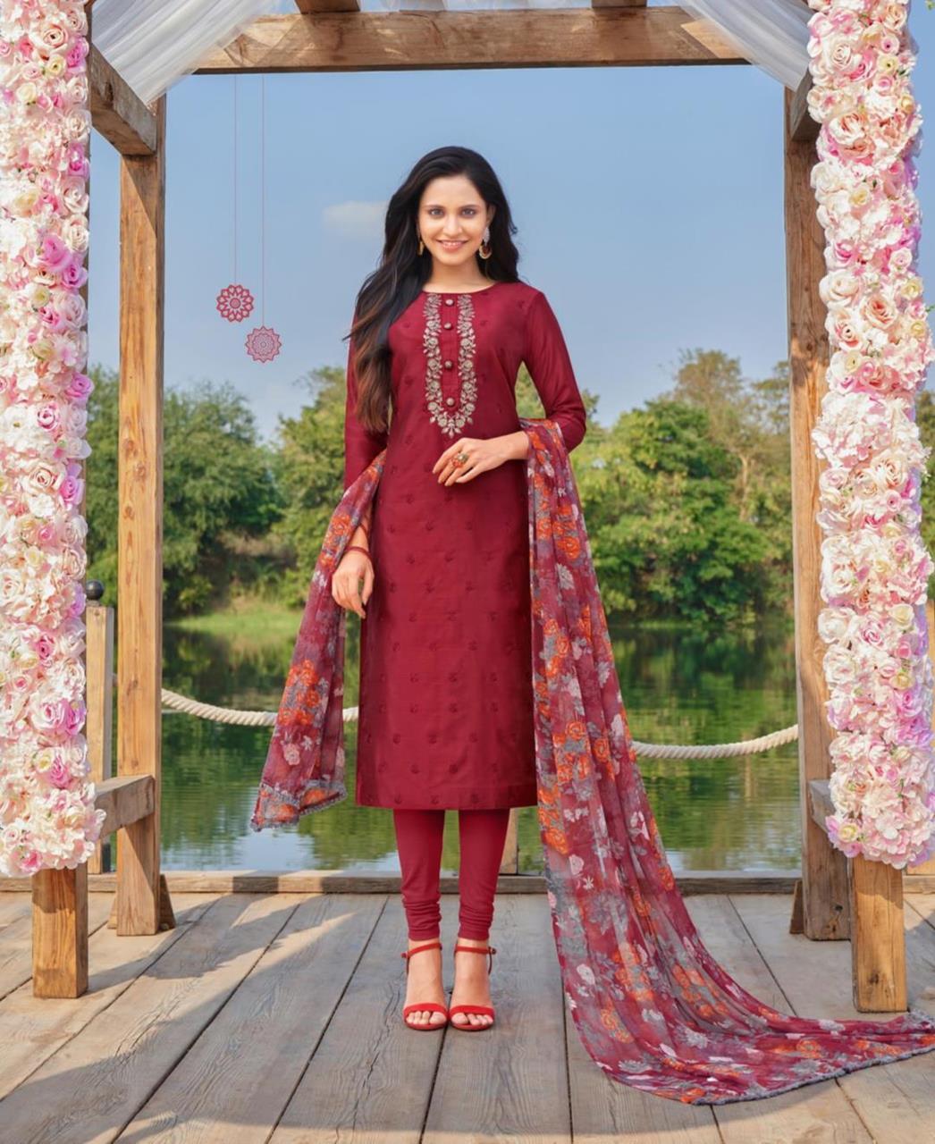 Cotton Straight cut Salwar Kameez in Maroon