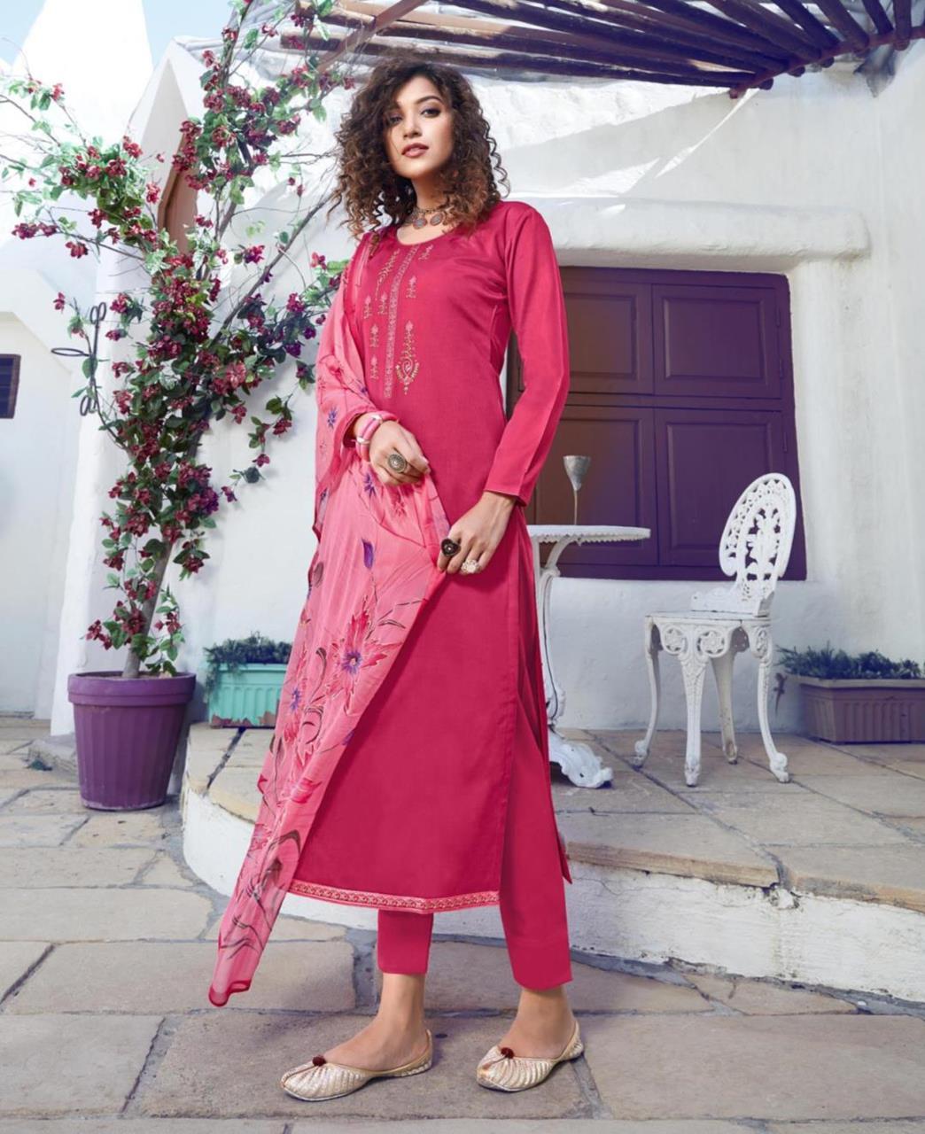 Cotton Straight cut Salwar Kameez in Ranipink
