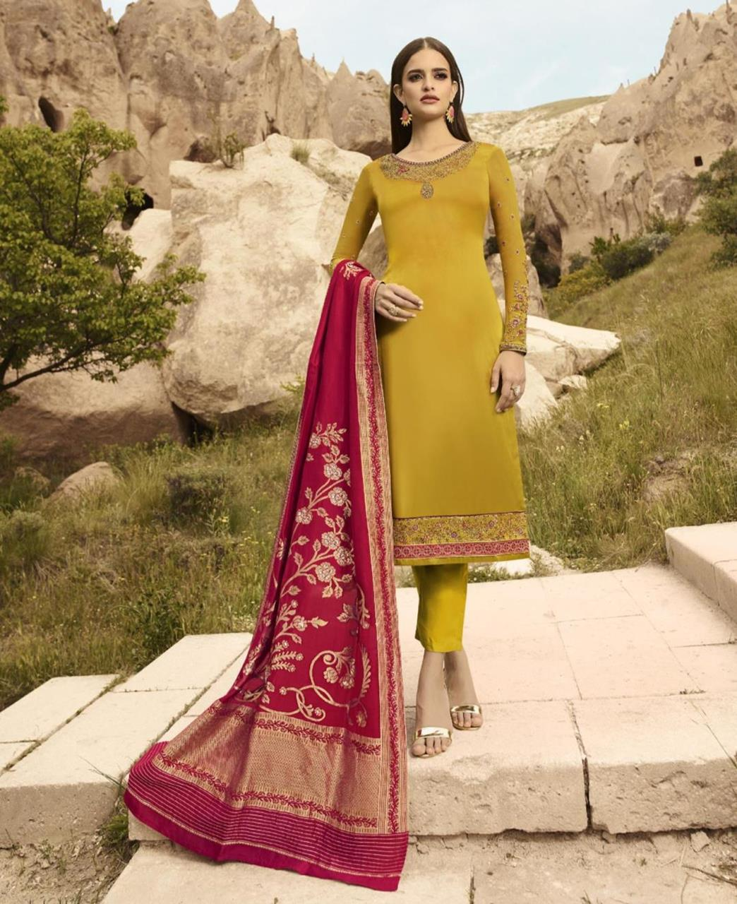Cord Work Satin Yellow Straight Cut Salwar