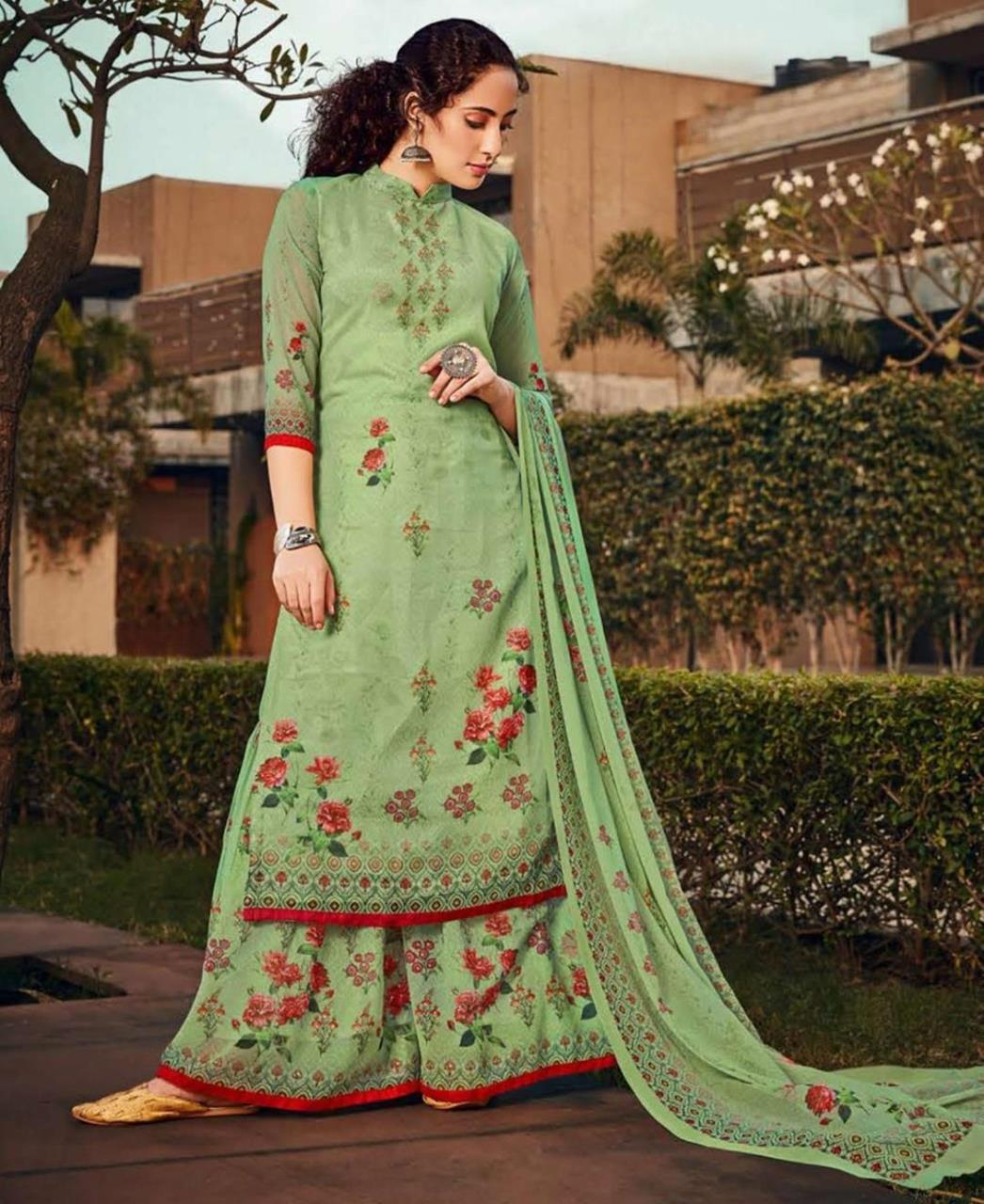Stone Work Georgette Straight cut Salwar Kameez in Light Green