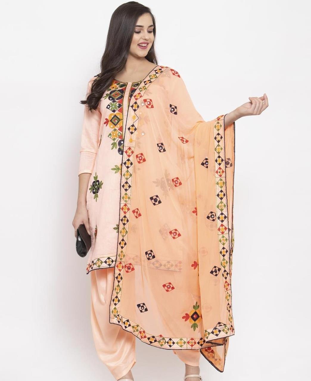 HandWorked Silk Patiyala Suit Salwar in Peach