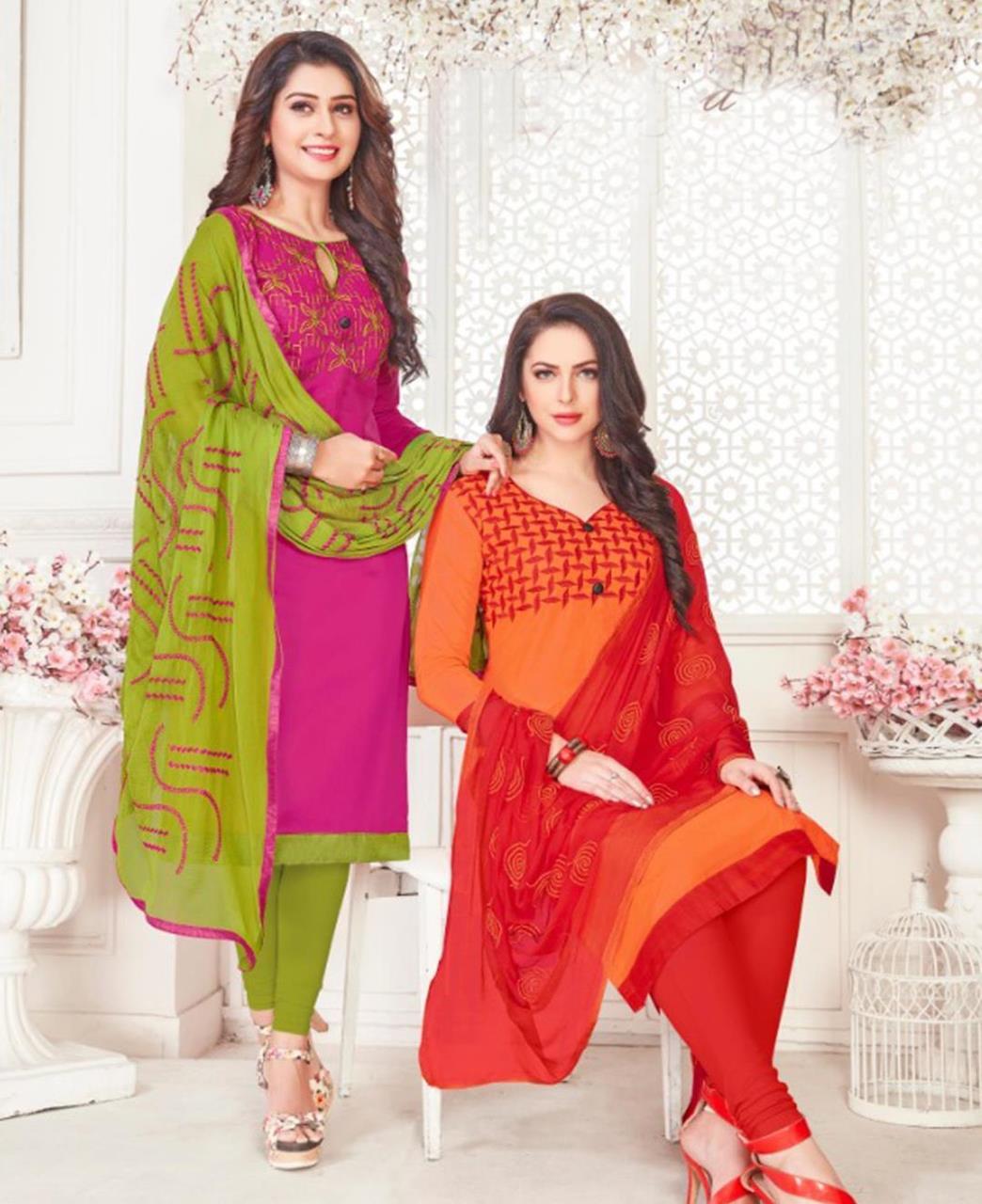 Embroidered Cotton Satin Magenta Straight Cut Salwar Kameez