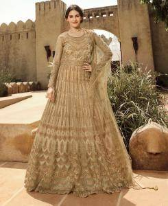 Thread Net Abaya Style Salwar in Beige