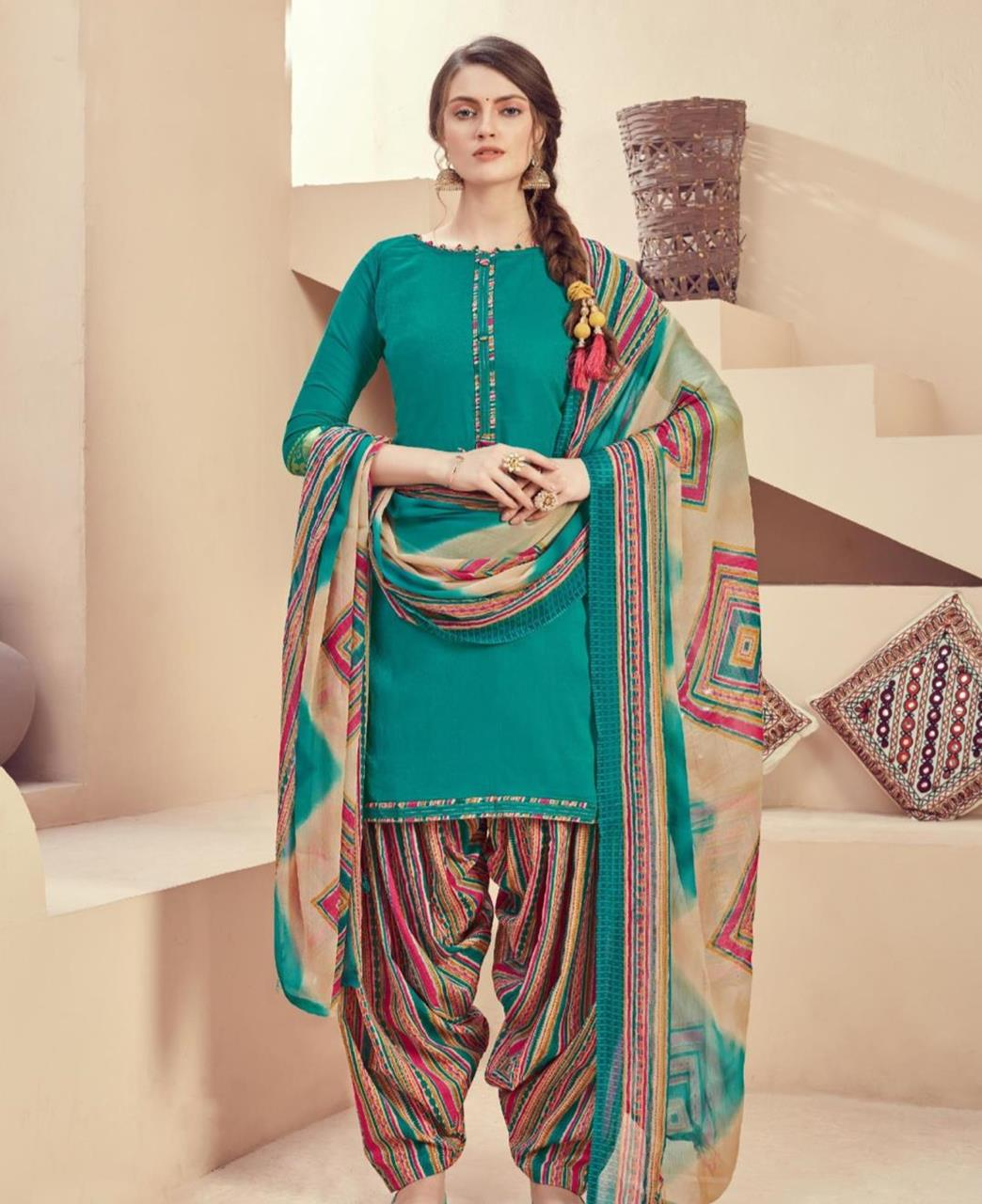 Printed Cotton Patiyala Suit Salwar in Rama Green