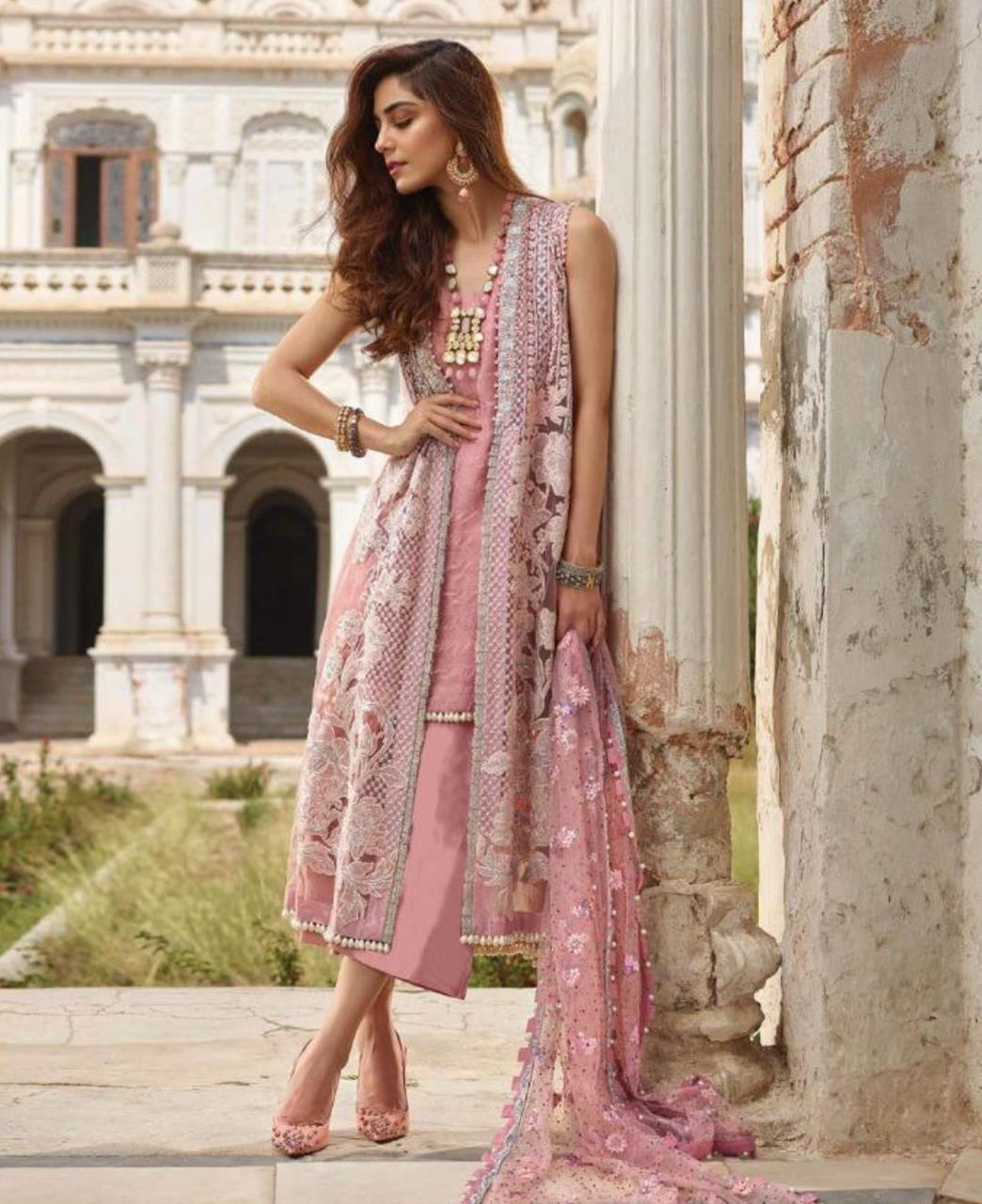 Embroidered Net Straight cut Salwar Kameez in Light Pink