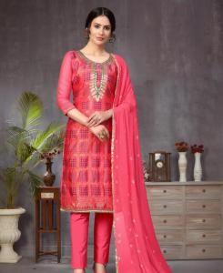 Jacquard Straight cut Salwar Kameez in Pink