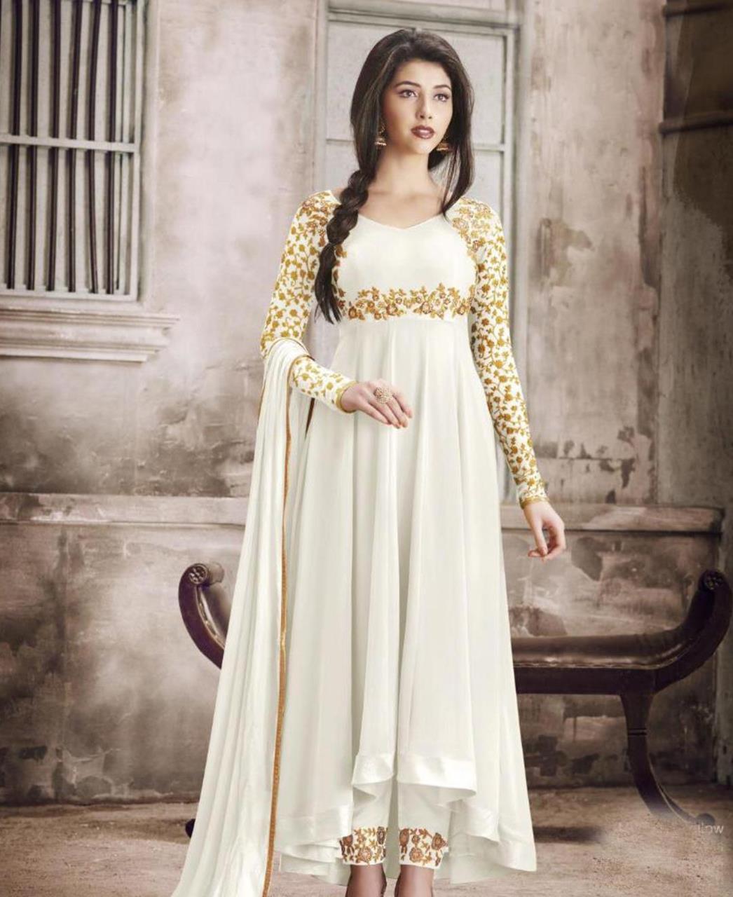 Thread Georgette Abaya Style Salwar in White
