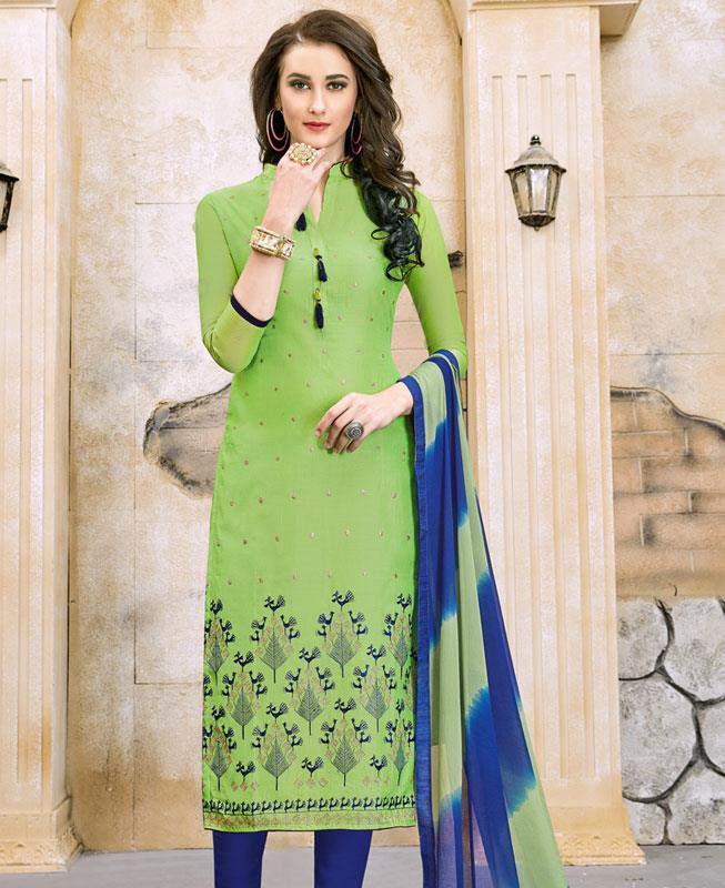 Border Work Chanderi Cotton Green Straight Cut Salwar Kameez