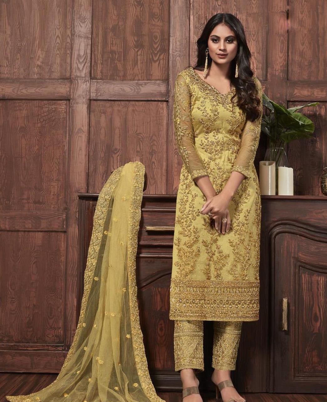 Thread Satin Abaya Style Salwar in Yellow